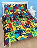CHILDRENS BOYS FIREMAN SAM DUTY DOUBLE BED DUVET SET QUILT COVER SET YELLOW RED BLUE BRICKS PRINT