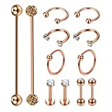 Masedy 12Pcs Stainless Steel Industrial Barbell Cartilage Piercing Earrings for Women Men Hoop Helix Tragus Labret Piercing B-Rose (Color: B: 12Pcs Rose Gold)