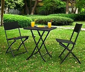 SoBuy OGT02 Lot de 1 table 2 chaises pliable, Salon de jardin, Ensemble meubles de jardin de rotin tressé