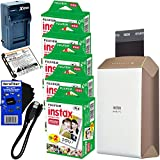 Fujifilm instax SHARE Smartphone Printer SP-2 (Gold) - International Version (No Warranty) + Instax Mini Instant Film (100 sheets) + Rchrgbl. Battery + AC/DC Charger + HeroFiber® Gentle Cleaning Cloth