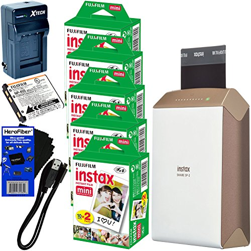 Fujifilm-instax-SHARE-Smartphone-Printer-SP-2-Gold-International-Version-No-Warranty-Instax-Mini-Instant-Film-100-sheets-Rchrgbl-Battery-ACDC-Charger-HeroFiber-Gentle-Cleaning-Cloth