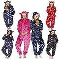 Ladies Forever Dreaming Stars Spots Xmas Flannel Fleece Hooded Onezee PJ Onesie