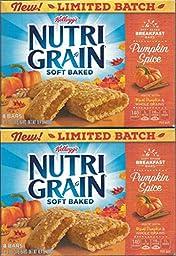 2 Boxes Kelloggs Nutri Grain Pumpkin Spice Breakfast Bars 8 count