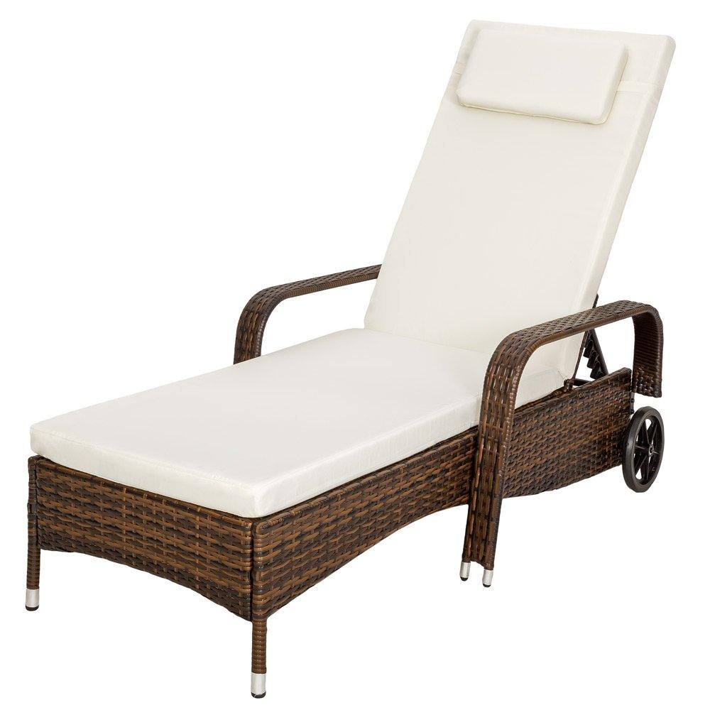 TecTake® Polyrattan Sonnenliege Gartenliege Rattan Garten Liege Gartenmöbel Rattanmöbel braun schwarz kaufen