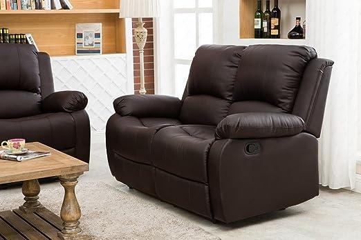 UEnjoy Klassische Sofa Luxuriös Sessel Couch PU Leder 2 Sitzer