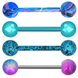 OUFER 4PCS 316L Stainless Steel 14G Barbell Tongue Rings Paint Swirl Splatter Tongue Barbell