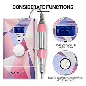 NATPLUS Professional Nail Drill Machine 35000 RPM Upgrade with Screen and Tool Bag Portable Wireless Portable E-file Kit 3/32 Rechargeable Electric Nail File Wireless. (Color: DRILL SET1)