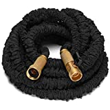 Riemex 25ft Best Expandable Garden Water Hose-TRIPLE LATEX-TOP QUALITY- Brass Fittings Connectors, Flexible - for all Watering Needs (25 FT, Black)