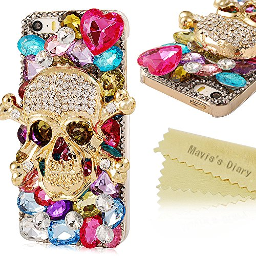 Iphone SE Case, Iphone SE 5S 5 Case - Mavis's Diary Luxury 3D Handmade Full Bling Crystal & Rhinestone Heart Metal Skull Design Clear Cover Case (Iphone 5)