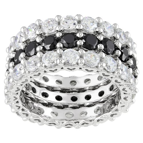 Sterling Silver Black and White Cubic Zirconia Eternity Ring, (10.8 cttw), Size 7