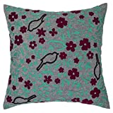 Pas Home Embroidered Cushion Cover Decorative Cotton With Green Brown Color 18 Inch X 18 Inch