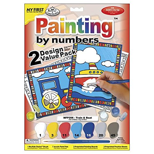 Royal Brush My First Paint by Number Kit, 8.75 by 11.375-Inch, Train and Boat, 2-Pack