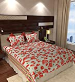 Home Candy Floral Cotton Double Bedsheet with 2 Pillow Covers - Red (CTN-BST-340)