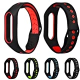 Smart Watch Bands, Lightweight Silicone Sport Ventilate Wristband Replacement or Xiaomi Mi Band 2 (Red) (Color: Red)