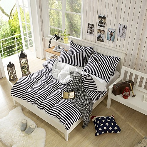 Best Deals! Elegant Black Color Stripe Printed Pattern Duvet Cover Sets Fashion Bedding Full Queen S...