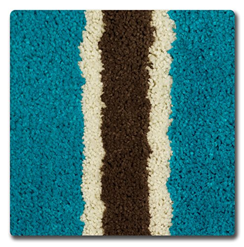Bathtopia Ace Microfiber Stripe 16 X 24 In. Bath Rug, Teal New