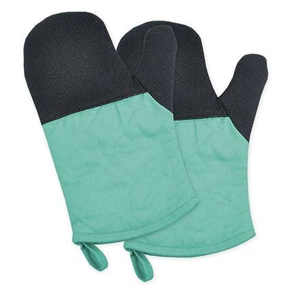 DII 100% Cotton, Machine Washable, Heat Resistant to 425 Degrees, Everyday Kitchen Basic Oven Mitt, Set of 2, Aqua