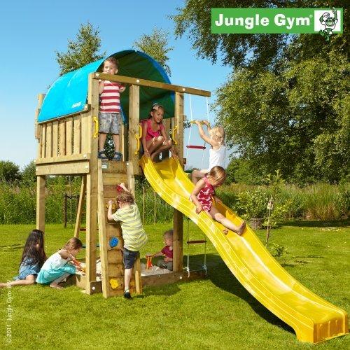 Spielturm Jungle Gym Villa aus Lärchenholz/Douglasienholz inkl. Rutsche apfelgrün