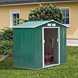 Outsunny Lockable Garden Shed Large Patio Roofed Tool Metal Storage Building Foundation Sheds Box Outdoor Furniture (7 x 4 FT, Green)