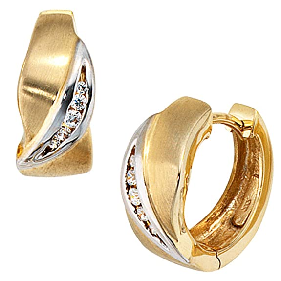 Jewel earrings 333 yellowgold rhodium plated part frosted, zirconia (approx. 3.3g) diam-w.14.5-6.4mm