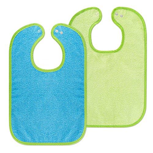 2er-Set-Riesen-Baby-Ltzchen-mit-Druckknopf-30x46-cm-Schadstoffgeprft-nach-ko-Tex-Standard-100-Frottee-100-Baumwolle-Grn-Blau