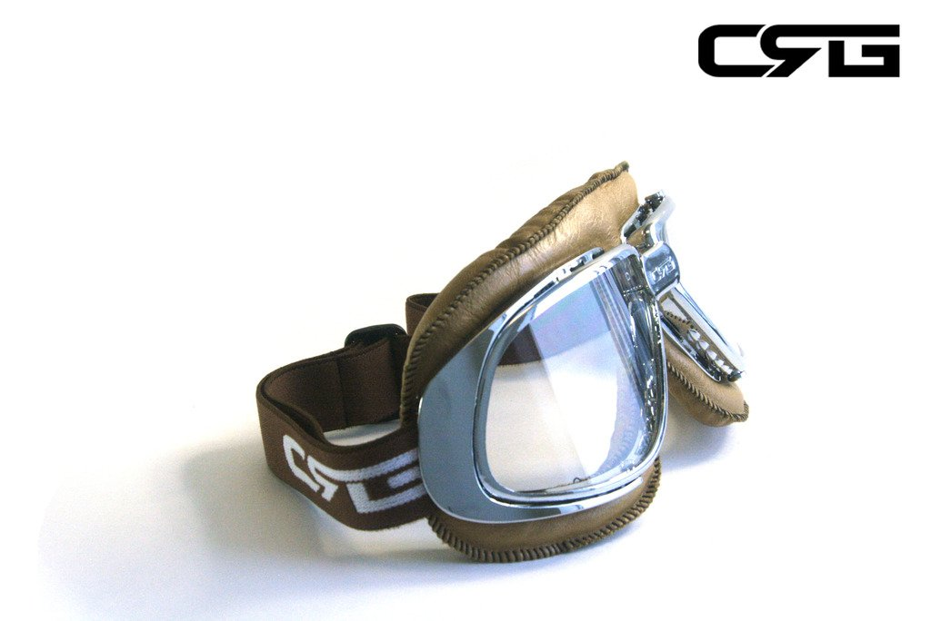 CRG Sports Vintage Aviator Pilot Style Motorcycle Cruiser Scooter Goggle T10 T10SCN-L Transparent lens, Silver frame, Light brown padding 2