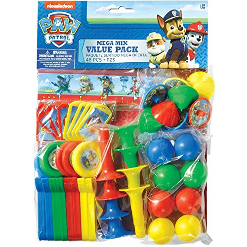 Amscan Amazing Paw Patrol Birthday Party Mega Mix Value Pack (48 Piece), Blue/Red/Yellow/Green