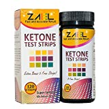 ZAEL Ketone Test Strips, 120 Strips + Free Low Cab One Week Meal Plan (8x11), Ketone Urine Test * Perfect for Ketosis, Diabetics, Paleo & Atkins Diet. Professional Lab Grade Test Pads
