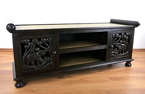 Rattan Sideboard, asiatische TV-Möbel / HiFi-Sideboard der Marke Asia Wohnstudio, Sitzbank mit Elefantenschnitzerei, TV-Bank