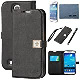 galaxy s4 case, By Ailun,Wallet Case,PU Leather Case,Cut,Credit Card Holder,Flip Cover Skin[Black]with Screen Protect and Styli Pen