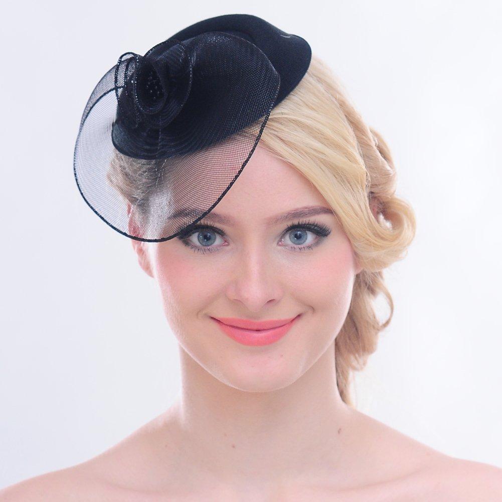 FAYBOX Vintage Mesh Net Wool Felt Pillbox Flower Women Fascinator Hat Hair Clip 4