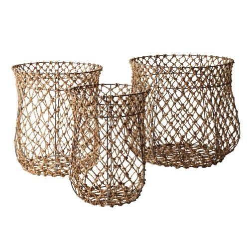 Lazy Susan Nested Fisherman Rope Baskets, Set Of 3 front-962903