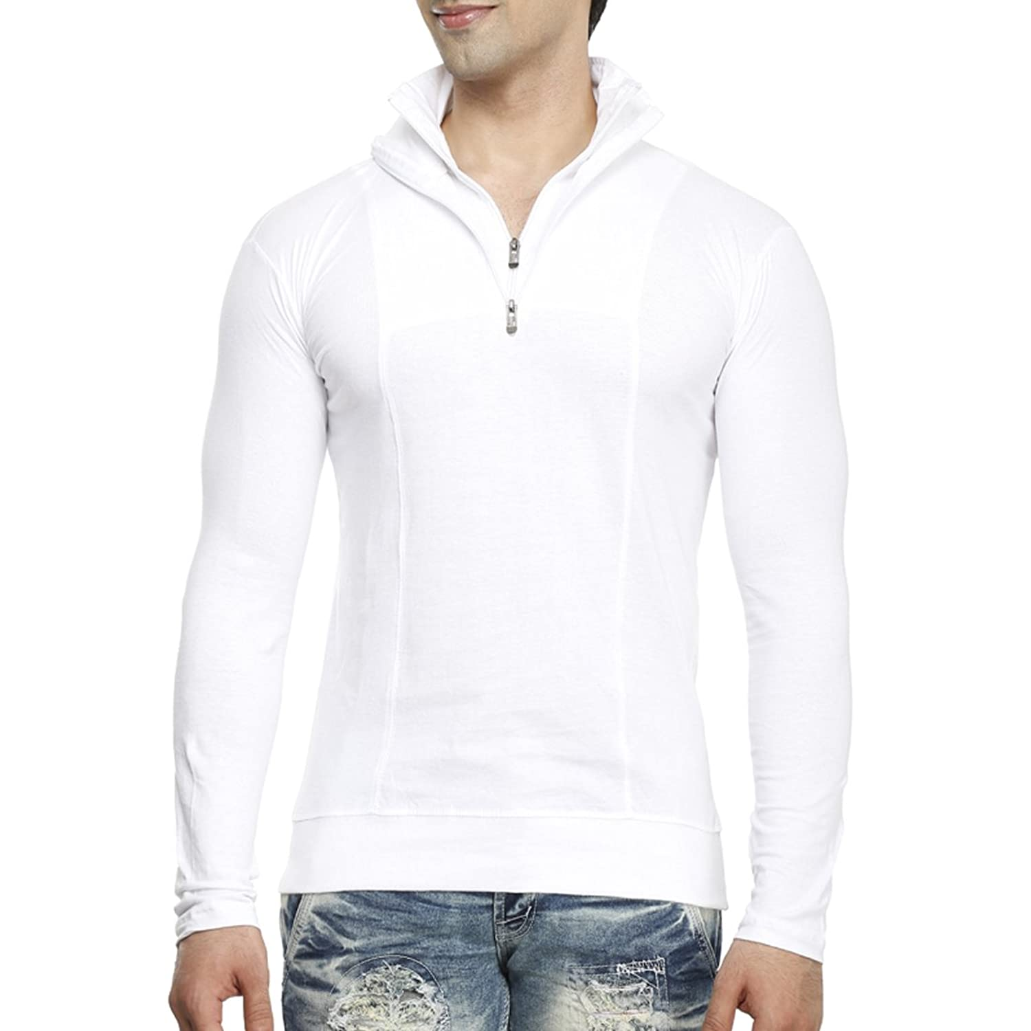 T shirt white colour - Tees Collection Men S Half Zip Double Flap Collar Full Sleeve Cotton T Shirt Amazon In Clothing Accessories