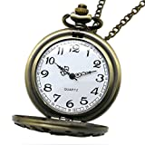 Powshop Vintage Stainless Quartz Pocket Watch with 14.8'' Chain Classic Sculptured Fob Pocket Watch (Bronze)