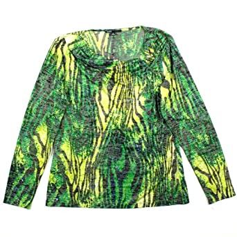 Womens Chaus Long Sleeve Cowl Neck Top Small Green Jungle Print