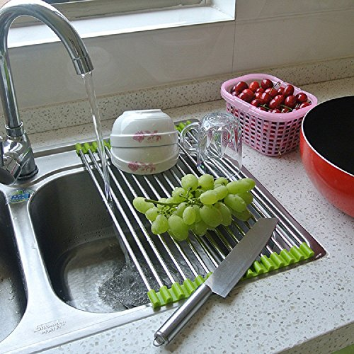 Mangocore Roll-Up Folding Over the Sink Multipurpose Roll Up Dish Drying Rack Stainless Steel Silicone Colander Foldable Sink Drainer Tray (Green) (Over The Sink Tray compare prices)