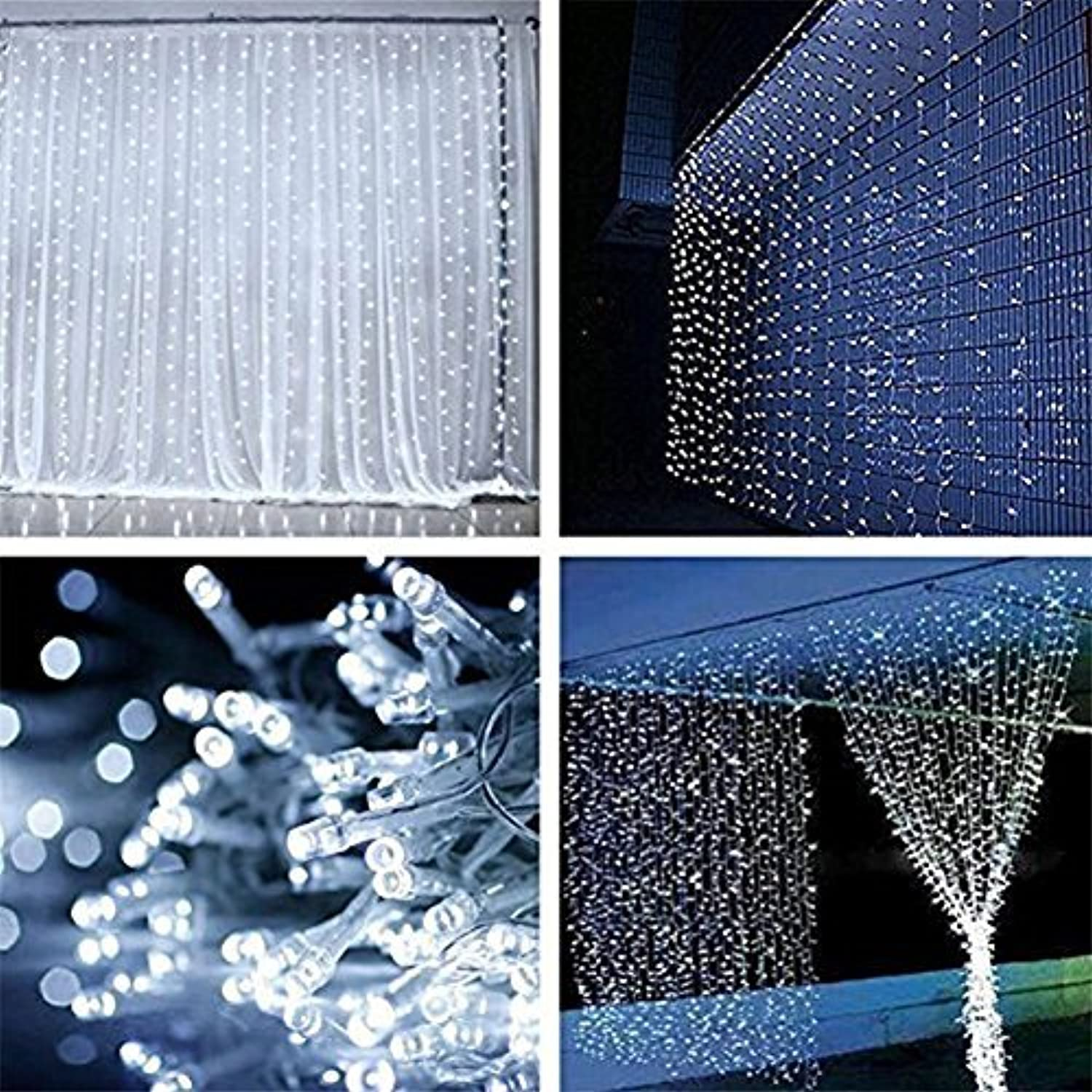 ZSTBT Linkable 300LED 9.84ft9.84ft/3m3m Window Curtain String Lights Icicle Fairy Lights Party ...