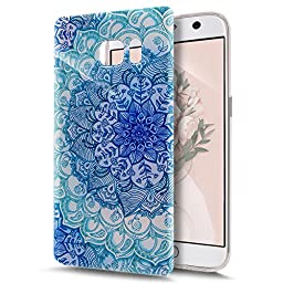 Galaxy Note 7 Case,ikasus Crystal Clear Art Series Scratch-Resistant Ultra Slim Flexible Frame Silicone Soft TPU Bumper Rubber Protective Case Cover for Samsung Galaxy Note 7,Blue Flower