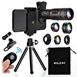 Phone Camera Lens Kit, 18X Telescope Zoom Lens 6 in 1 Cell Phone Lens Kit with 198°Fisheye, 15X Macro, 0.63X Wide Angle,Tripod and Shutter for iPhone X XS Max 8 7 6 Plus Samsung Android (Color: 18X phone lens kit, Tamaño: 6 in 1 phone lens kit)