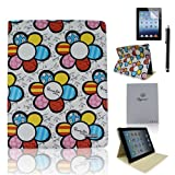 Case-online for Apple Ipad Mini Luxury Pu Leather Flip Folio Stand Magnetic Cover Smart Case+Stylus+Protect or - White