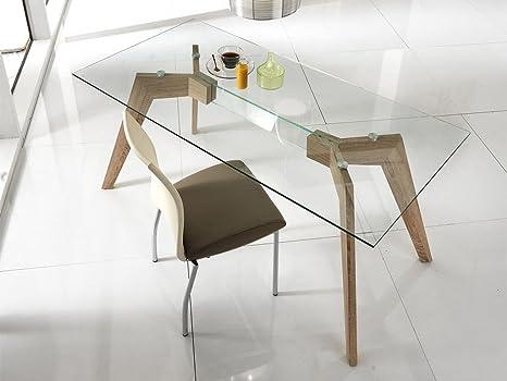 Stones - Dafne tavolo in vetro con base in legno, Colore: Trasparente