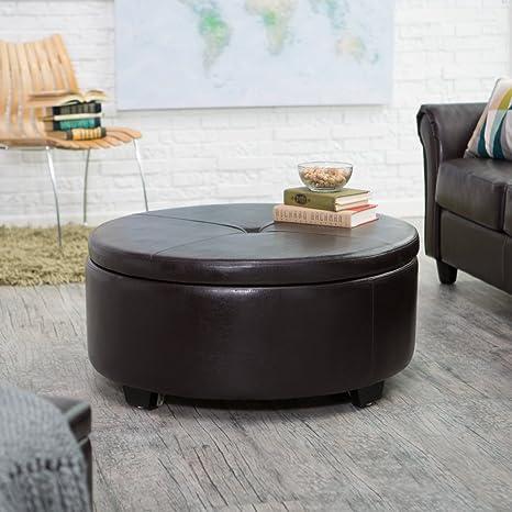 Belham Living Corbett Coffee Table Storage Ottoman - Round