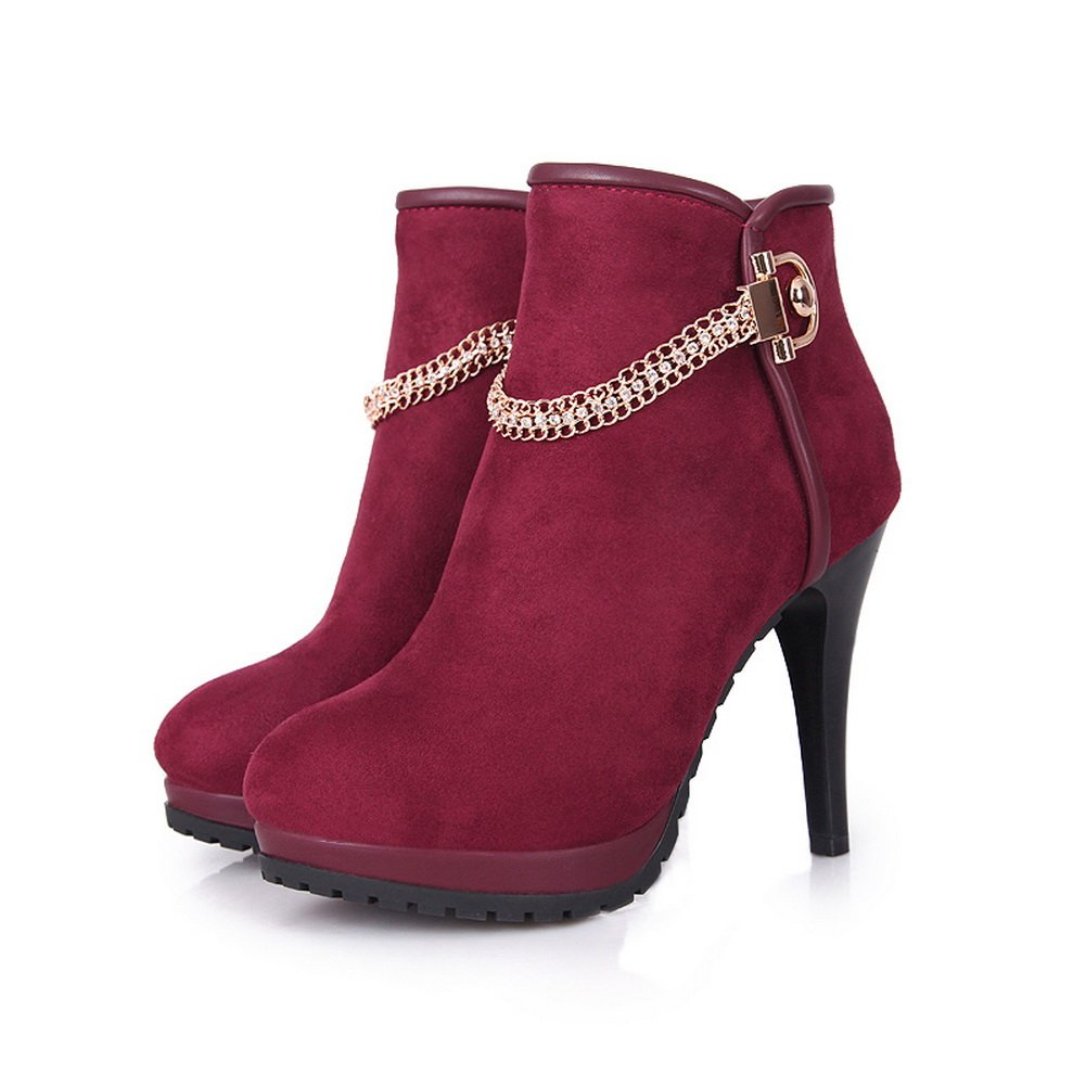QueenFashion Women's Sexy Style Colorant Match Ankle Boots with Metal Chains and Zipper,Wine Red,34