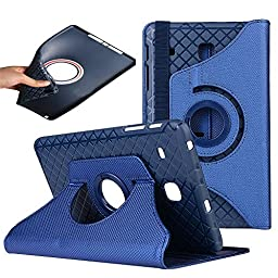 Galaxy Tab A Case 9.7,TechCode 360 Degrees Rotating Stand PU Leather Case Protective Flip Folio Detachable Soft Rubber Cover for Samsung Galaxy Tab A 9.7 SM-T550(Tab A 9.7, Blue)