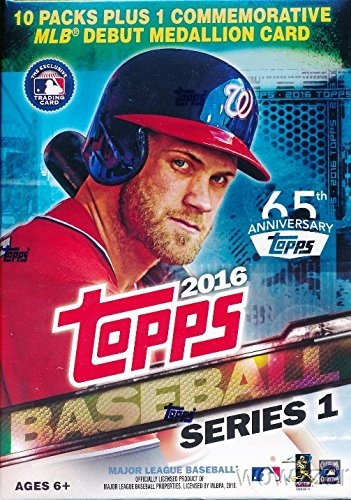 2016-Topps-Series-1-MLB-Baseball-EXCLUSIVE-Factory-Sealed-Retail-Box-with-10-Packs-101-Cards-including-VERY-SPECIAL-MLB-DEBUT-Commemorative-Medallion-Card-Loaded-with-Cool-Inserts-New-RC-Cards