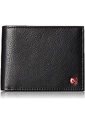 Men's Deluxe Wallet Genuine Leather Flip-up ID Window 11 Card Slots 2 Receipt Pockets