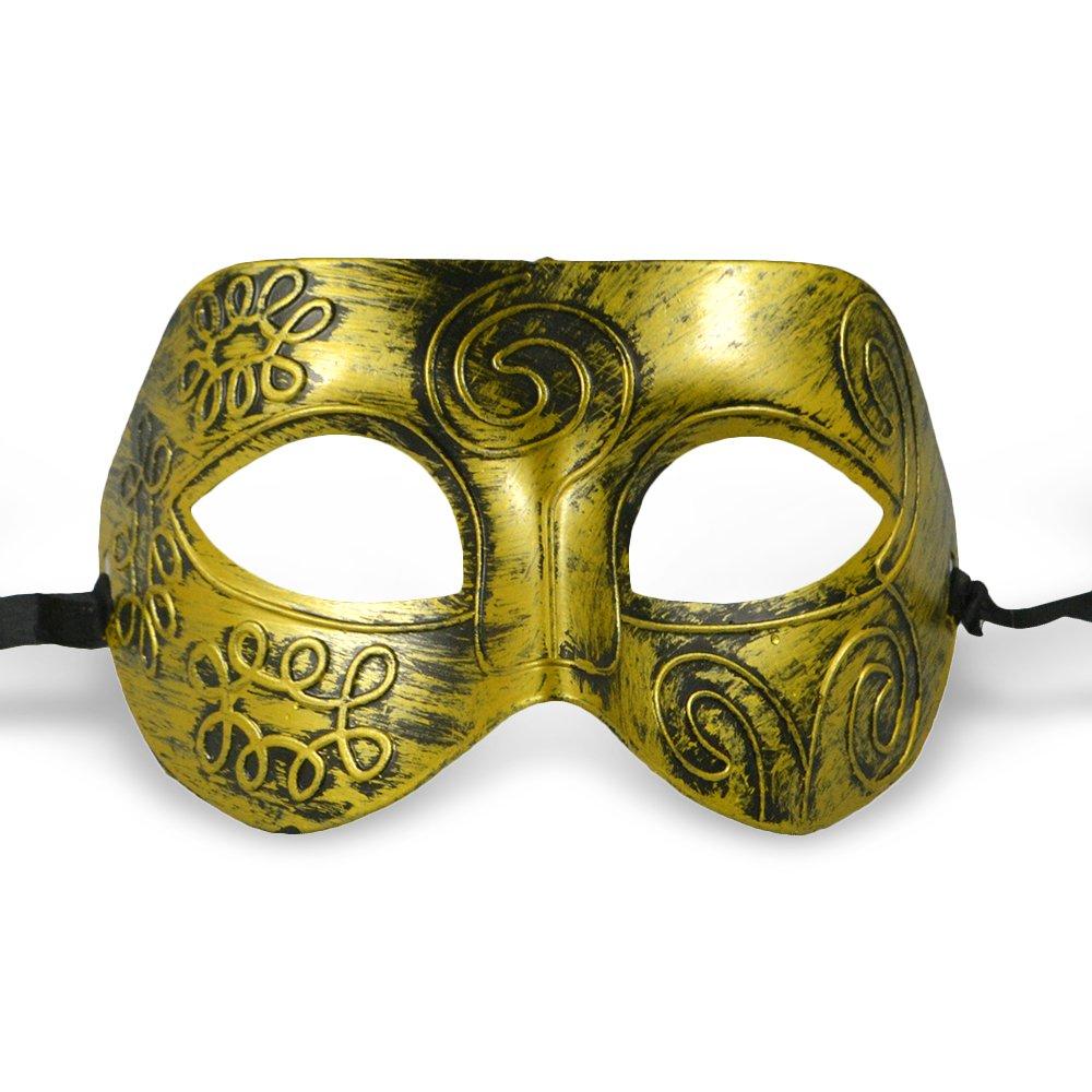 Thiroom Men's Retro Greco-Roman Gladiator Masquerade Masks Vintage Golden Mask Carnival Mask Mens Halloween Costume Party Mask(golden) 1