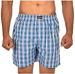 CALICO Men's Cotton Boxers (CAL_21_M, Blue and White, M)