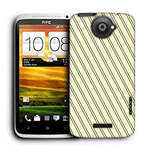 Snoogg Brown Strip Cream Pattern Printed Protective Phone Back Case Cover For HTC One X