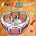 """PET4FUN® PN935 35"""" Portable Pet Puppy Dog Cat Animal Playpen Yard Crates Kennel w/ Premium 600D Oxford Cloth, Tool-Free Setup, Carry Bag, Removable Security Mesh Cover/Shade, 2 Storage Pockets (PINK)"""